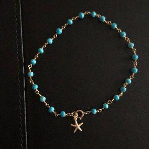 "Jewelry - Genuine Turquoise bead anklet 8.5"""